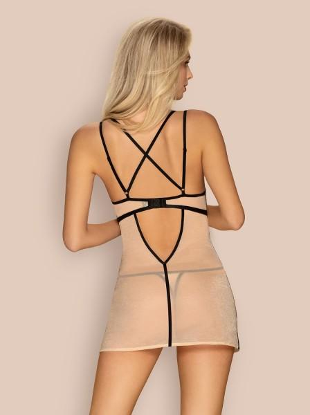 Elegante chemise con perizoma nudo-nero collezione Nudelia Obsessive Lingerie in vendita su Tangamania Online