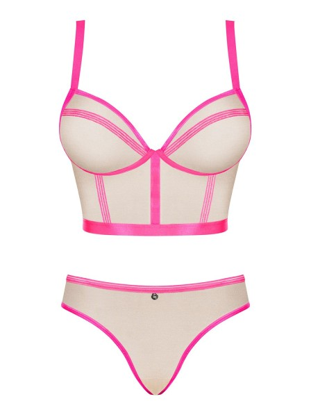 Elegante top e mutandine color nudo-pink collezione Nudelia Obsessive Lingerie in vendita su Tangamania Online