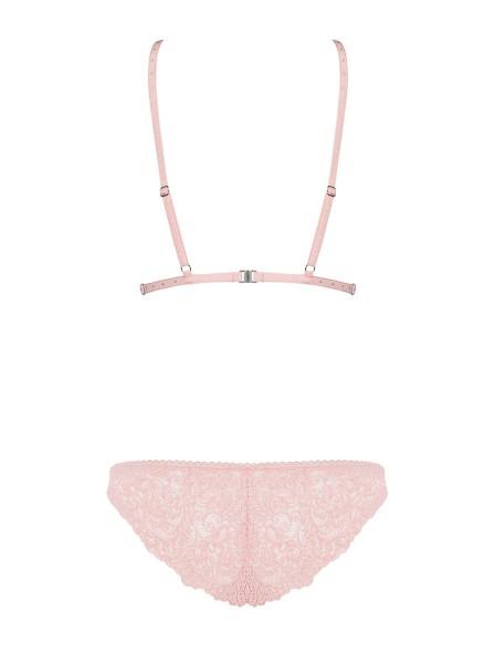 Completino intimo regolabile in pizzo rosa perla Delicanta Obsessive Lingerie in vendita su Tangamania Online