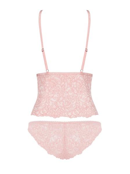 Completino top e mutandine in pizzo rosa perla Delicanta Obsessive Lingerie in vendita su Tangamania Online
