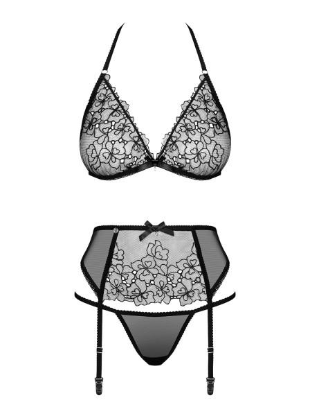 Elegante completino intimo traslucido in tre pezzi Uniquella Obsessive Lingerie in vendita su Tangamania Online