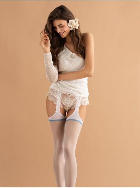 Collant bianchi effetto reggicalze 20 den modello Dolce Amore Fiore in vendita su Tangamania Online