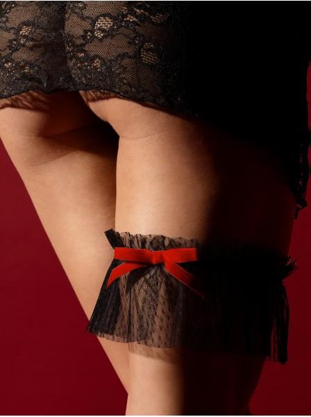 Romantica giarrettiera in tulle nero con fiocco rosso Christelle Fiore in vendita su Tangamania Online