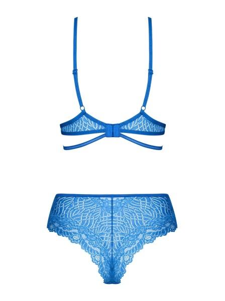 Elegante completino intimo in pizzo blu Bluellia Obsessive Lingerie in vendita su Tangamania Online