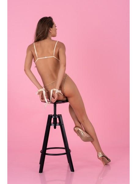 Romantico set in tulle nude e raso bianco con polsini Reelina CoFashion in vendita su Tangamania Online