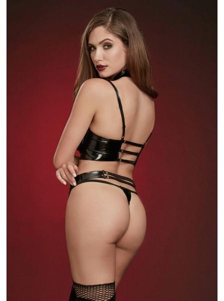 Sexy set in latex con reggiseno aperto e copricapezzoli Dreamgirl in vendita su Tangamania Online