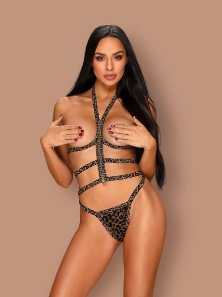 Sexy top aperto con perizoma motivo leopardato Tigrita Obsessive Lingerie in vendita su Tangamania Online