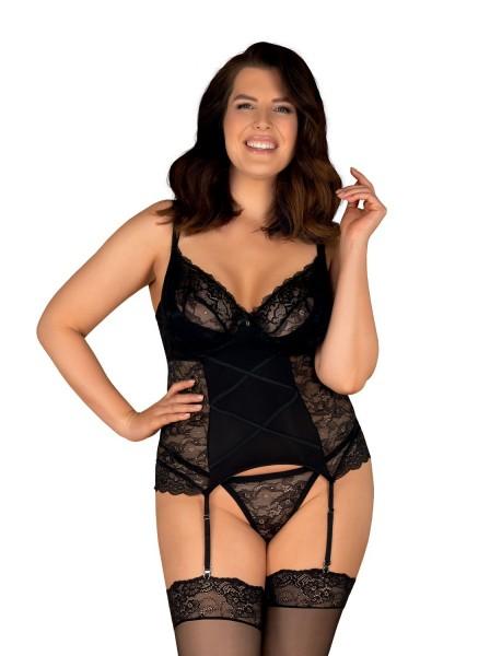 Sexy corsetto in pizzo nero ferretto e perizoma Laurise Obsessive Lingerie in vendita su Tangamania Online