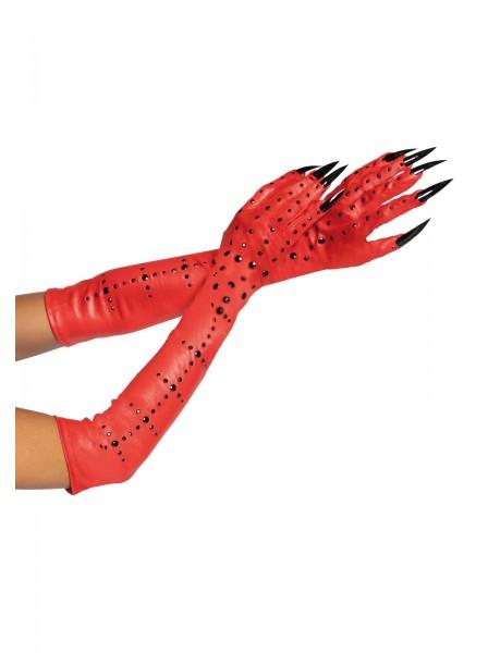 Guanti rossi ad artigli di metallo e strass per halloween Leg Avenue in vendita su Tangamania Online