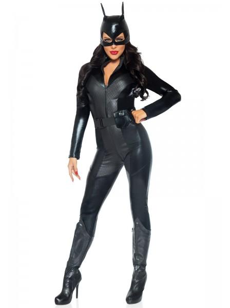 Accattivante catsuit Crime Fighter in ecopelle con accessori Leg Avenue in vendita su Tangamania Online