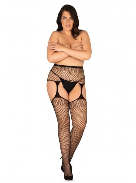 Sexy collant giarrettiera neri in rete stretch S815 Obsessive Lingerie in vendita su Tangamania Online
