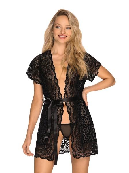 Elegante vestaglia Giully in tulle e pizzo animalier vellutato Obsessive Lingerie in vendita su Tangamania Online