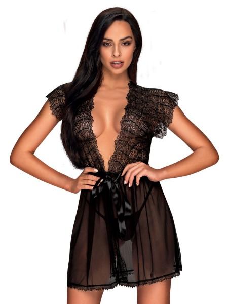 Collezione Romanesa sexy e fine vestaglia in tulle e pizzo Obsessive Lingerie in vendita su Tangamania Online