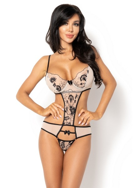 Sexy body nude con ricami neri Savannah BeautyNight in vendita su Tangamania Online