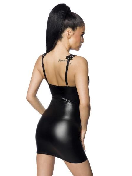 Sexy mini abitino effetto bagnato con inserto in pizzo macramè Saresia in vendita su Tangamania Online