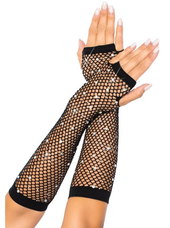 Guanti a rete stretch senza dita con strass Leg Avenue in vendita su Tangamania Online