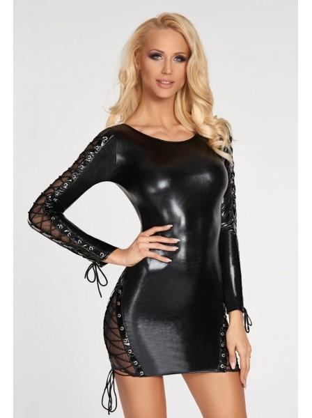 Sexy abito wetlook a maniche lunghe con trasparenze e lacci 7Heaven in vendita su Tangamania Online