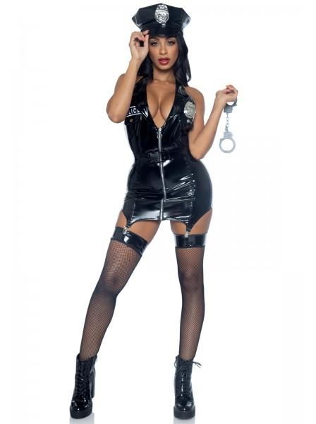 Travestimento cosplay da poliziotta vinile lucido Leg Avenue in vendita su Tangamania Online