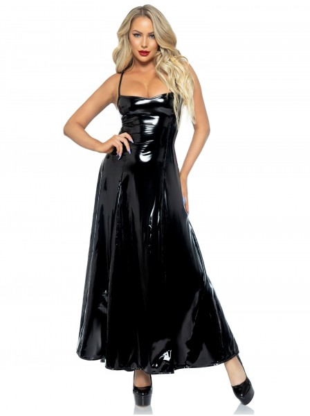 Sexy e provocante abito lungo in vinile glossy Leg Avenue in vendita su Tangamania Online