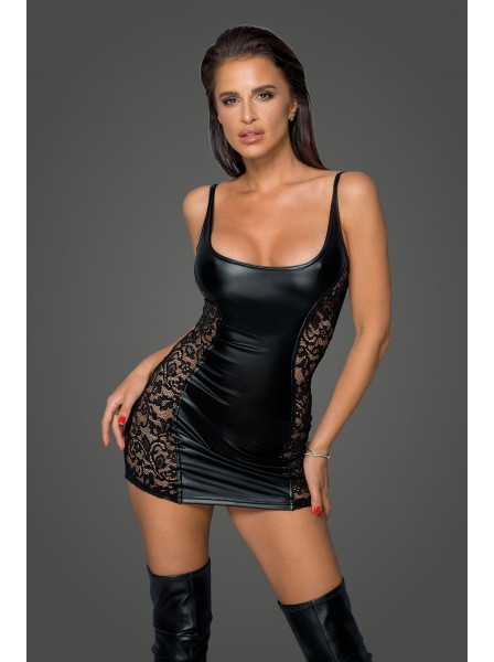 Sexy miniDress attillato in tessuto morbido WetLook Noir Handmade in vendita su Tangamania Online