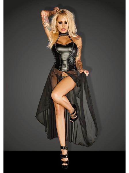 Provocante abito nero lungo in tessuto wetlook e tulle Noir Handmade in vendita su Tangamania Online