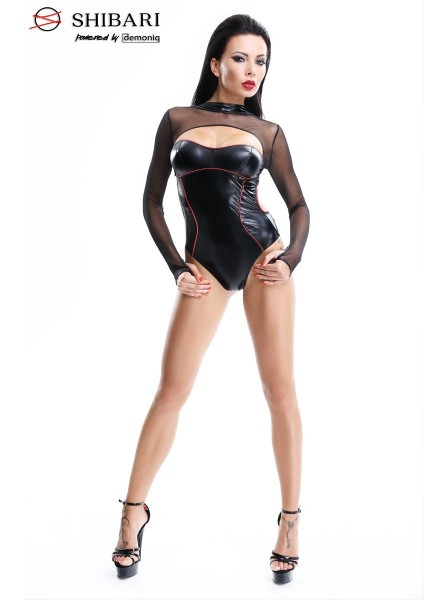 Aimi body wetlook con maniche lunghe in tulle Demoniq in vendita su Tangamania Online