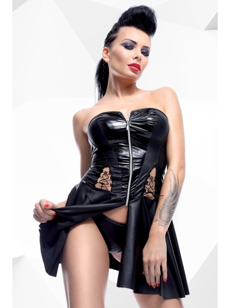 Rita abito wetlook con cerniera e perizoma Demoniq in vendita su Tangamania Online