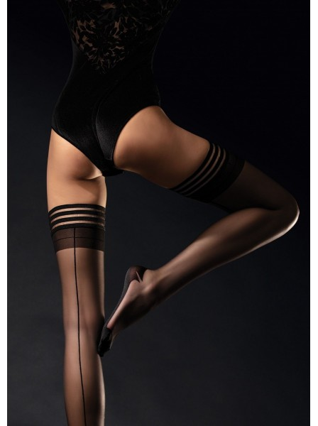 Femme Fatale calze autoreggenti 20 denari con riga e cuban heel Fiore in vendita su Tangamania Online
