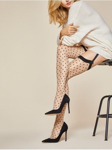 Illusion calze da reggicalze 20 denari color carne con pois Fiore in vendita su Tangamania Online