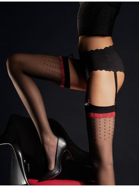 Lovely calze da reggicalze 20 denari con pois e cuoricini Fiore in vendita su Tangamania Online
