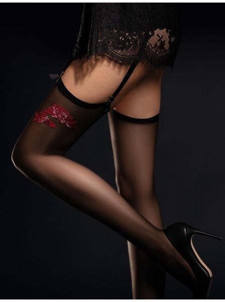Piccante calze da reggicalze 20 denari con dettaglio rosso Fiore in vendita su Tangamania Online