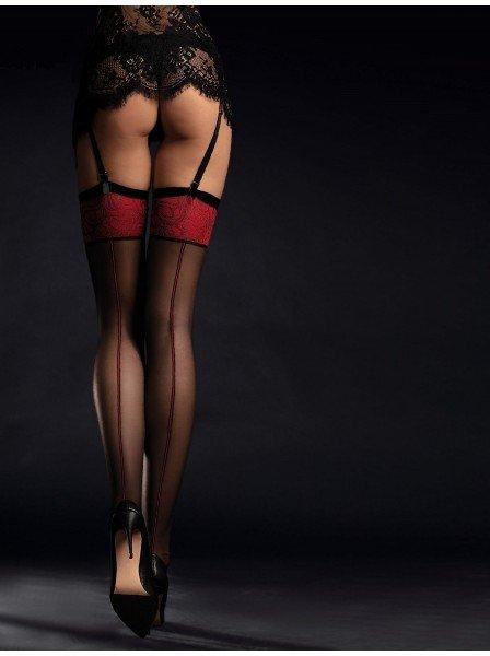 Scarlet calze da reggicalze 20 denari con balza in pizzo rosso Fiore in vendita su Tangamania Online