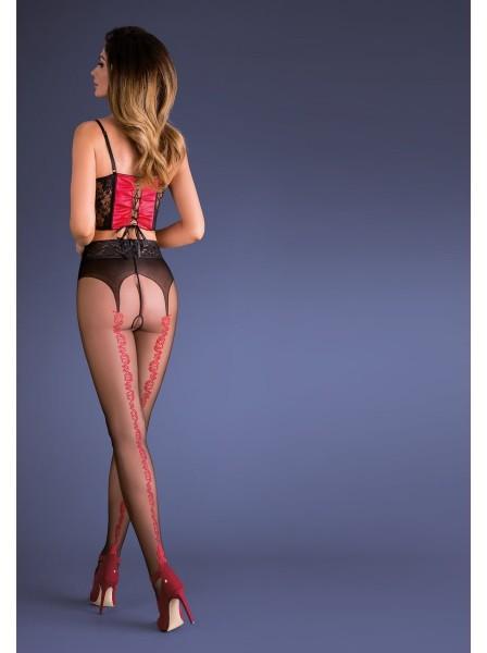 Collant aperti con dettagli rossi modello Carmen Gabriella in vendita su Tangamania Online