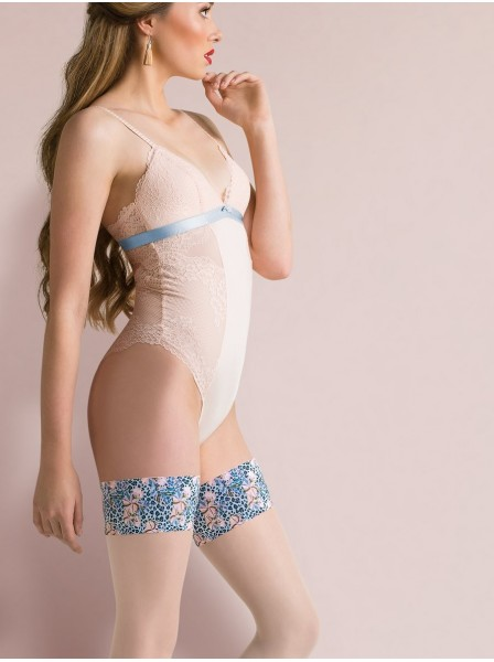 Florence autoreggenti con balza blu e rosa Gabriella in vendita su Tangamania Online