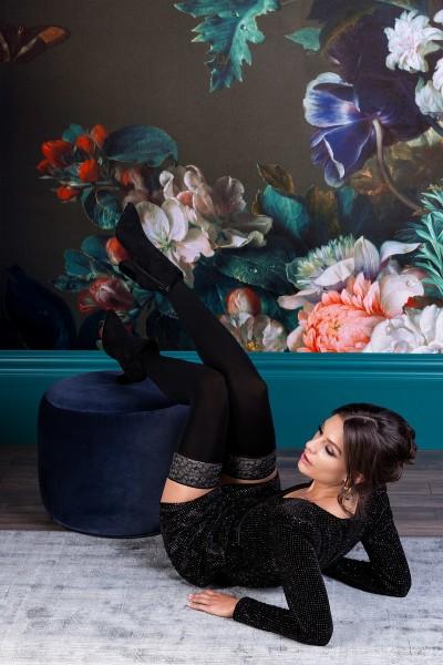 Rosalia autoreggenti con balza in pizzo floreale melange Gabriella in vendita su Tangamania Online