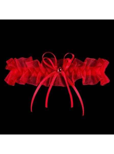 Giarrettiera in tulle rosso con gioiello coordinato Julimex in vendita su Tangamania Online