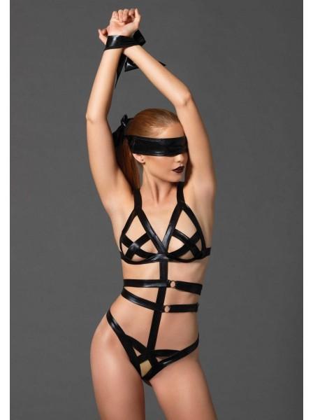 Body bondage in tessuto wetlook con accessori Leg Avenue in vendita su Tangamania Online