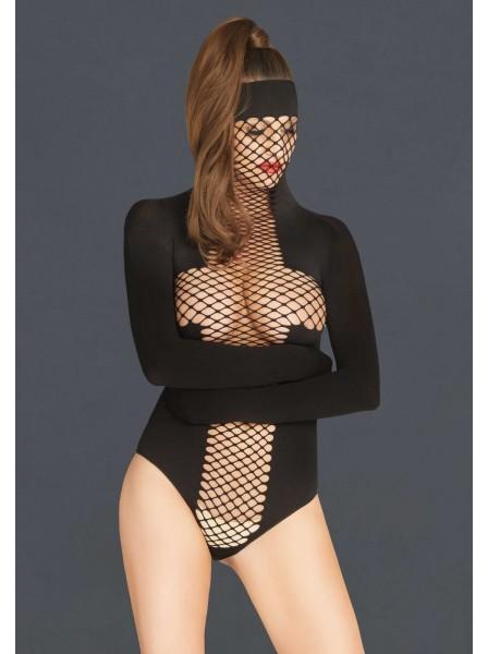 Body mask a perizoma in tessuto opaco e rete Leg Avenue in vendita su Tangamania Online
