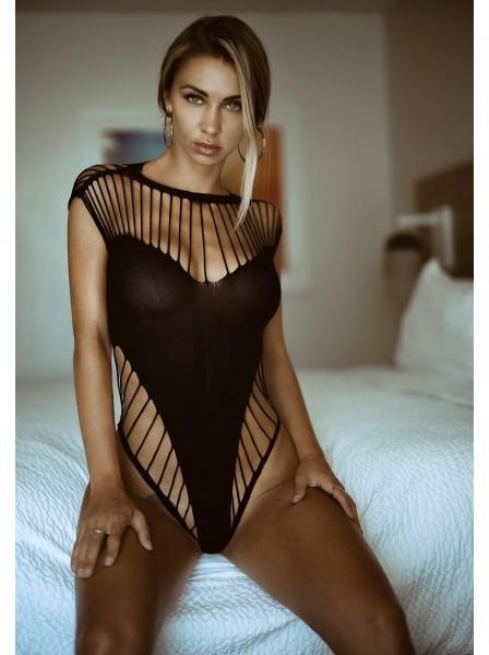 Body a perizoma con sexy aperture a stringhe in due colori Leg Avenue in vendita su Tangamania Online