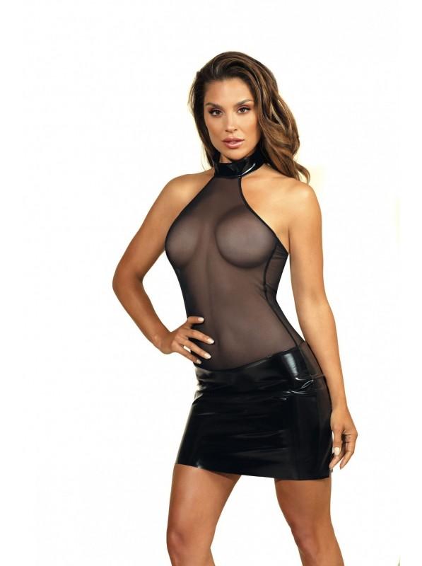 Abitino schiena nuda in tulle e latex nero Axami Lingerie in vendita su Tangamania Online