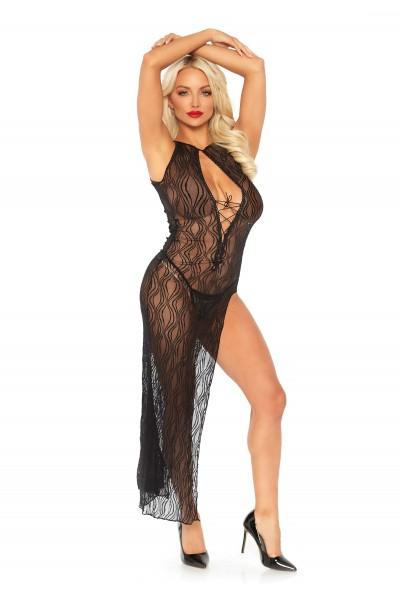 Elegante abito lungo in pizzo nero Leg Avenue in vendita su Tangamania Online