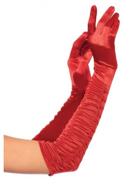 Guanti rossi satinati con rouches Leg Avenue in vendita su Tangamania Online