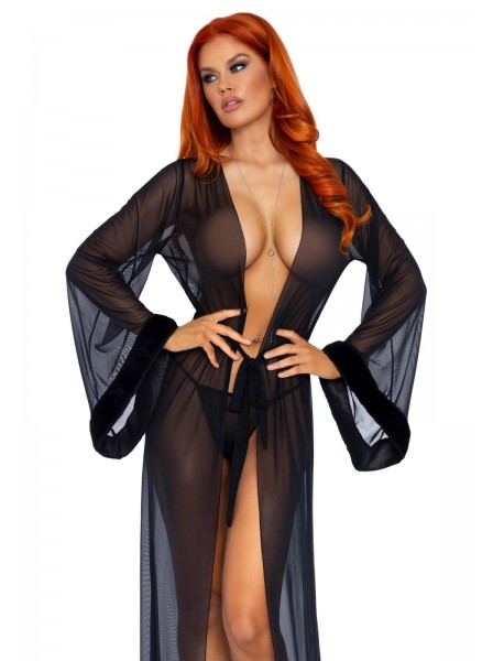 Vestaglia lunga in tulle con bordi in pelliccia in due colori Leg Avenue in vendita su Tangamania Online