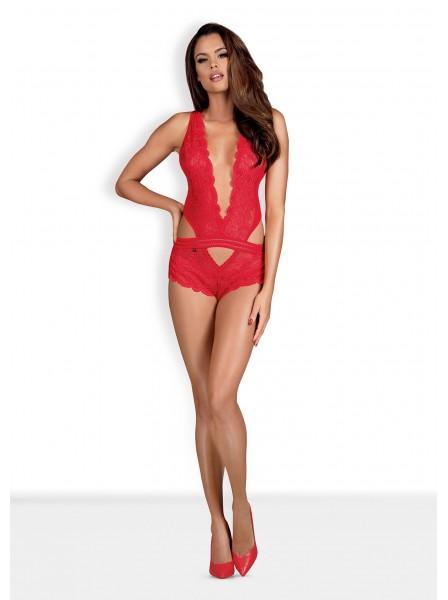 853 body a fasce in pizzo rosso Obsessive Lingerie in vendita su Tangamania Online