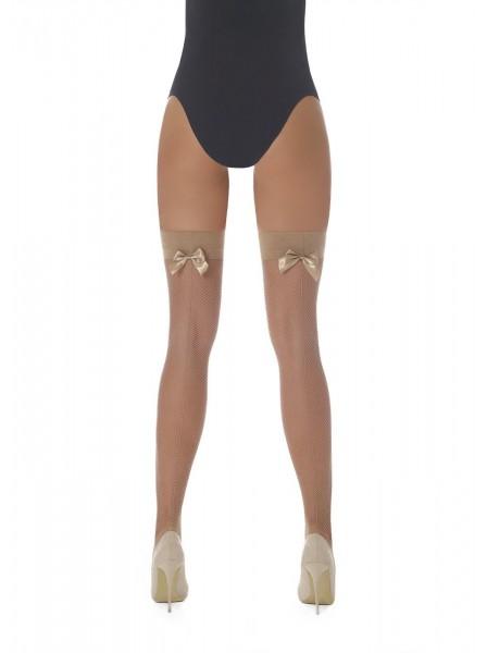 Mikaela calze autoreggenti a rete piccola con riga e fiocco in quattro colori BasBleu in vendita su Tangamania Online