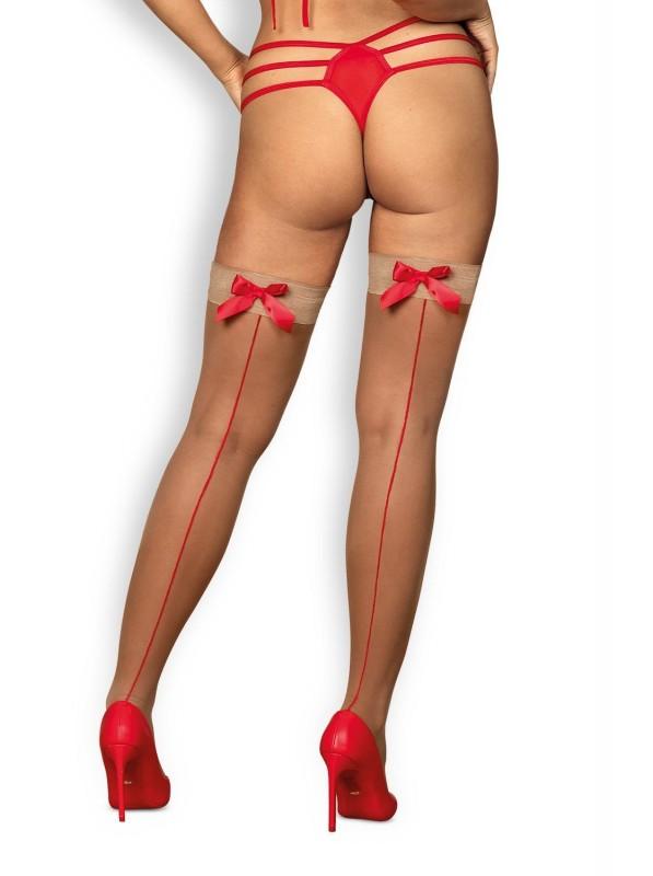 S808 calze autoreggenti beige con fiocchi in raso rosso Obsessive Lingerie in vendita su Tangamania Online